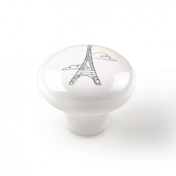 Bouton De Meuble Porcelaine La Tour Eiffel Boutons Et