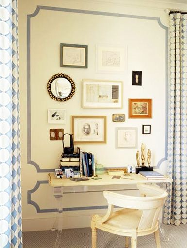 Home office wall art idea- clever way to frame a space and add ...