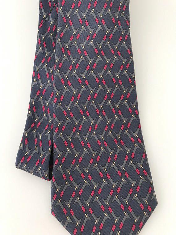 8f15c265830e Vintage Hermes Silk Necktie 7147 FA 100% Silk Twill Print   Vintage ...