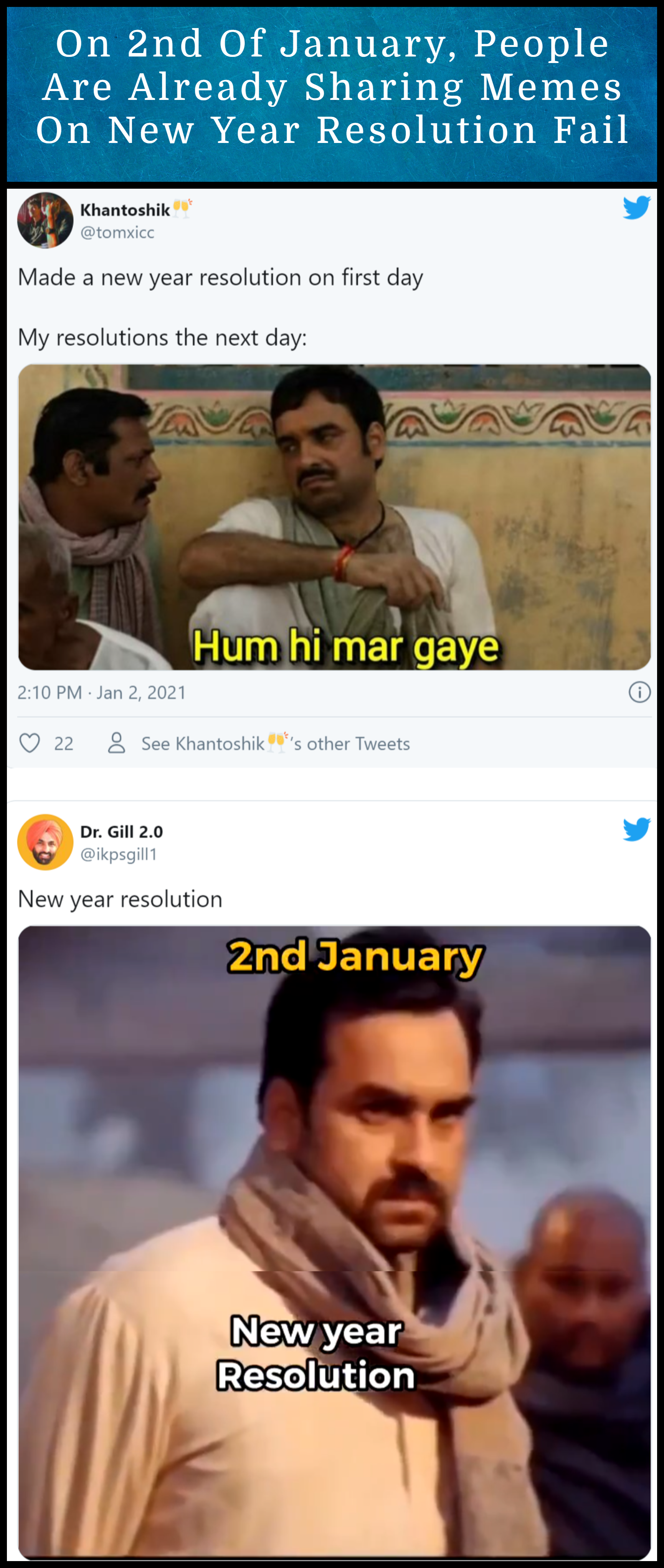 On 2nd Of January People Are Already Sharing Memes On New Year Resolution Fail In 2021 New Years Resolution Memes Fails