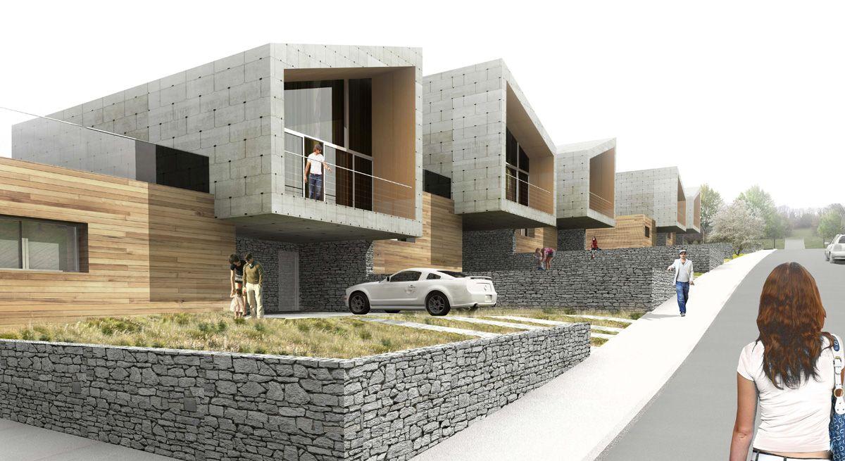 13 logements en bande manneville la pipard 14 - Maison campagne suisse fovea architects ...