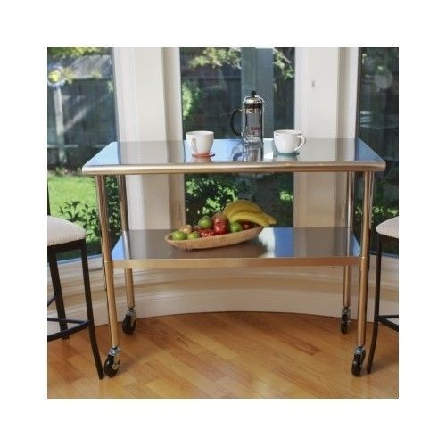 Stainless Steel Table Top Wheels Kitchen Island Prep Counter Bar Storage  Cart
