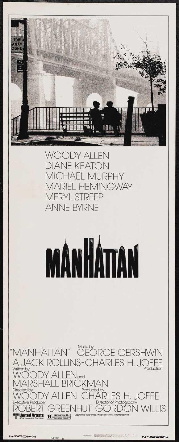 MANHATTAN Movie POSTER 14x36 Insert Woody Allen Diane Keaton Meryl ...