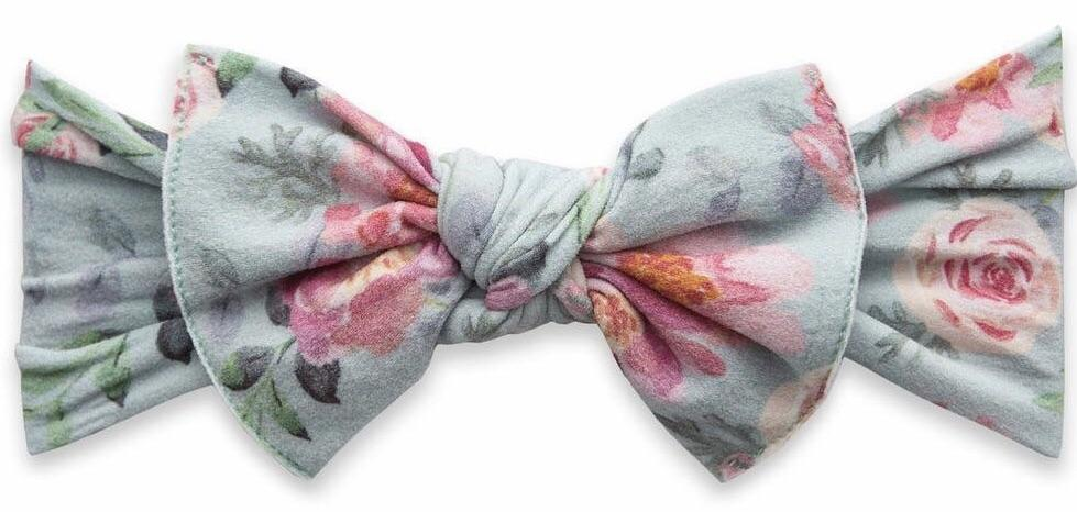 Baby Bling Sage Rose Printed Knot Headband In 2020 Baby Bling Baby Bling Bows Trendy Headbands