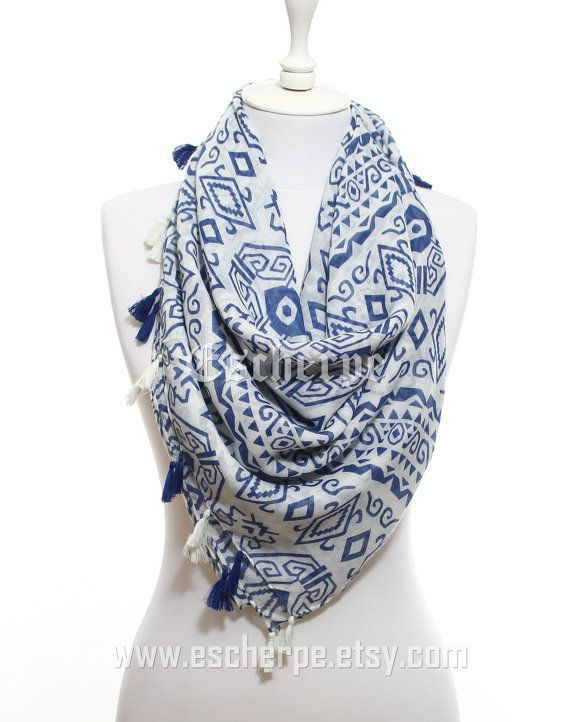 Aztec Scarf Navy White Trial Scarf So Soft Lightweight by #escherpe #scarves #scarf #shawl #shawls #wrap #wraps #tartan #plaid #check #summer #trend #spring #women #fashion #accessories #tribal #holiday #christmas #gift #gifts #outfit #accessorize #style #ombre #love #aztec #me #cute #valentines #nails #floral #beauty #beautiful #paisley #grey #pretty #white #navy #salmon #shopping #trend #trending #tassel