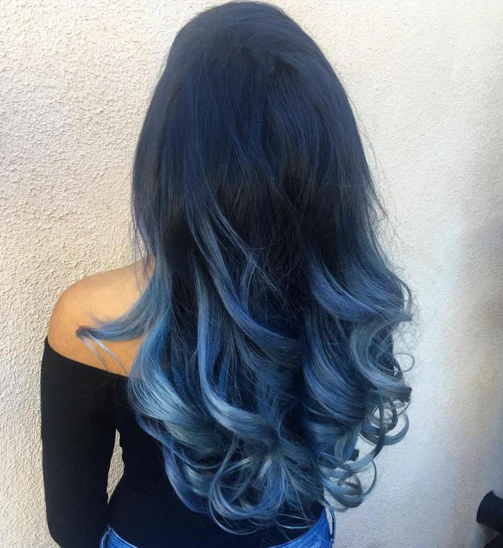 40 Fairy Like Blue Ombre Hairstyles In 2020 Blue Hair Dark Blue