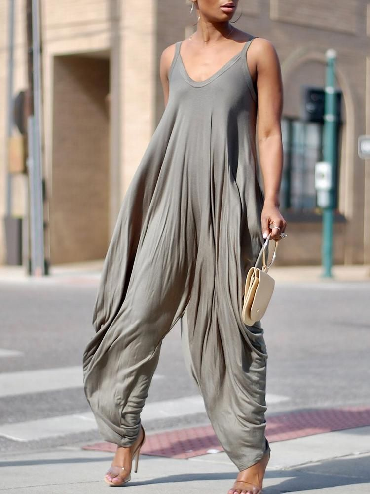 50b9acb3128 Shop Fashion Stretchy Spaghetti Strap Loose Jumpsuit – Discover sexy women fashion  at IVRose