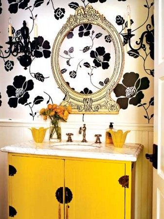 Black And White Bathroom Yellow Accent Love This With The Dog Wallpaper