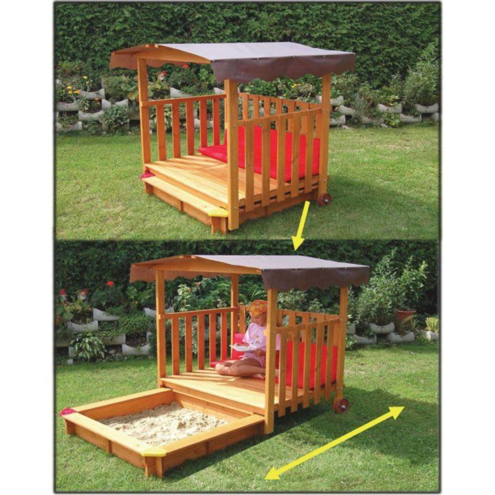 Kids Universe Sandbox With Retractable Playhouse Beach Cabana Canopy Cover  Wood
