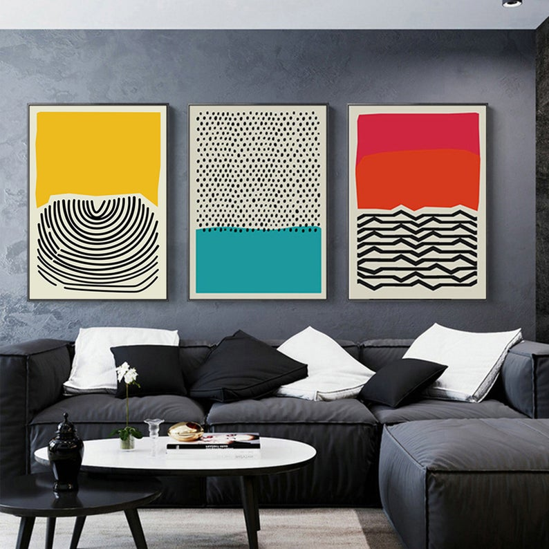 Mid Century Modern Multicolored Abstract Wall Art Hanging Etsy Modern Canvas Art Wall Art Canvas Painting Modern Art Prints