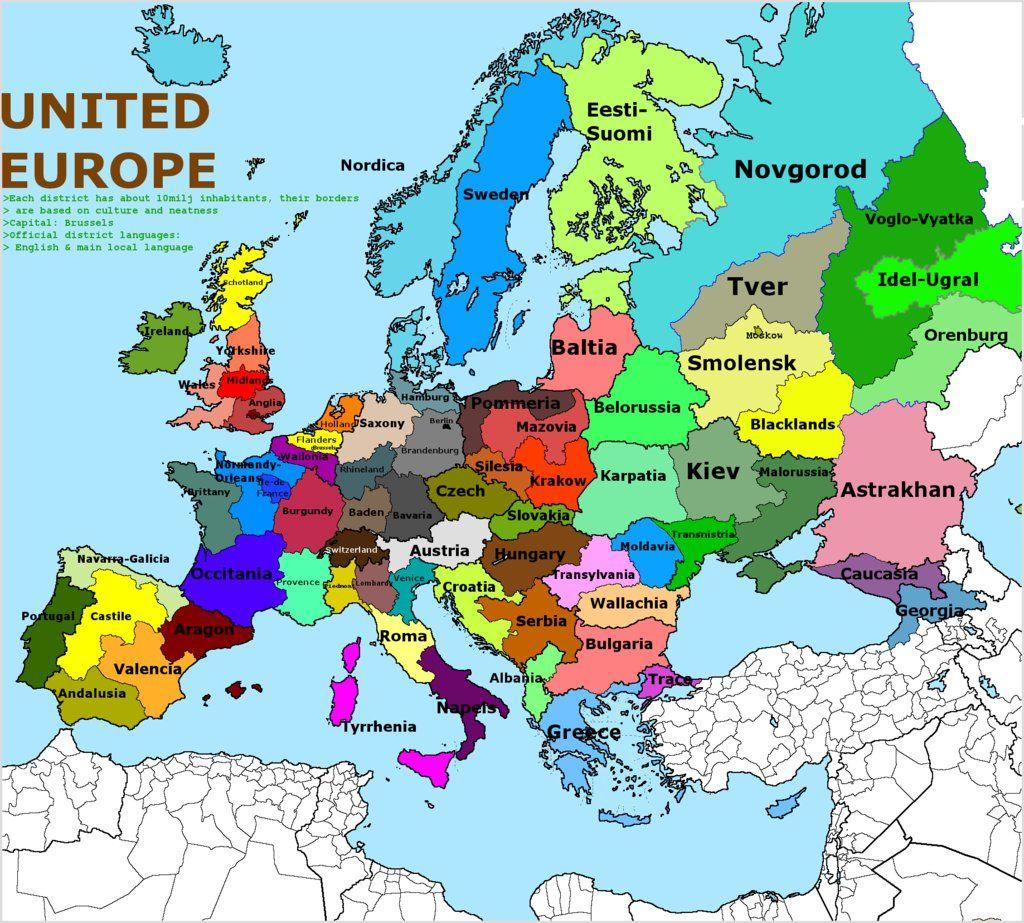 Europe, Divided In Regions Of 10 Million Inhabitants