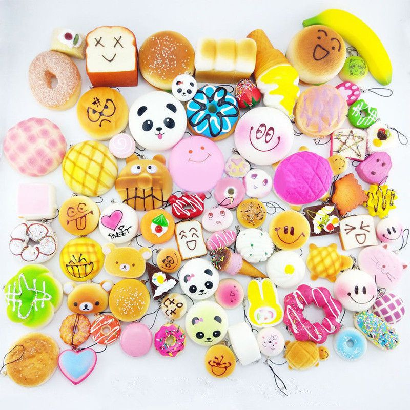 Mini Random Delivery 10/20/30pcs/sets Phone Straps Charm Hot  Brand Squishy Soft Panda/Bread/Cake party supplies decorations