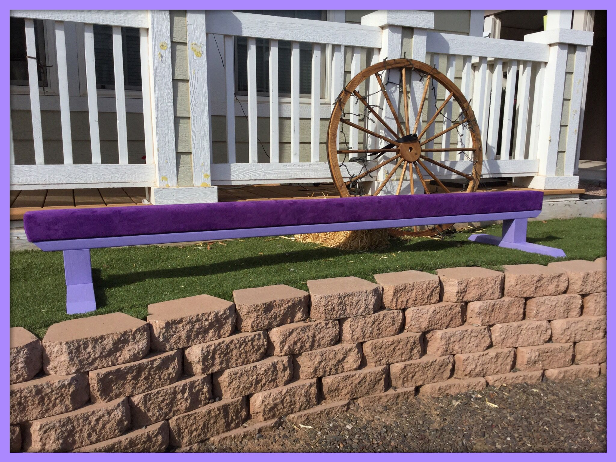 "Purple Suede Gymnastics Balance Beam with Lavender Base, 12"" Height"