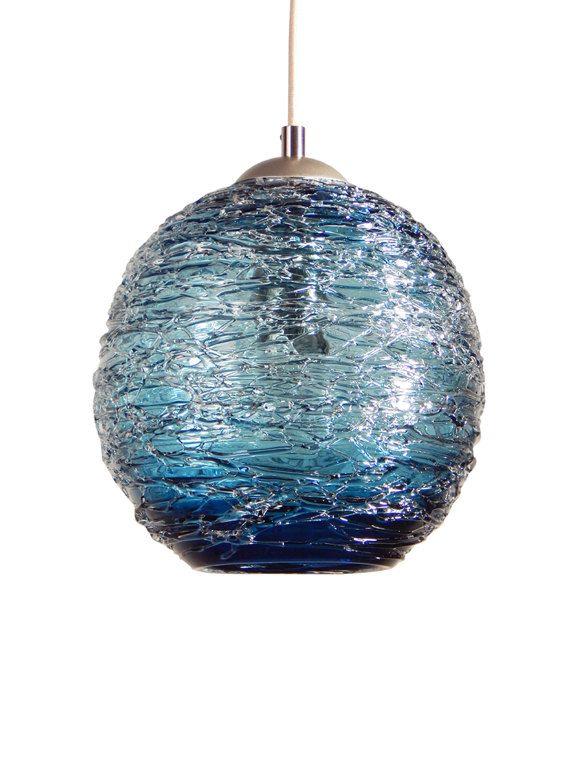 Steel Blue Spun Hand Blown Glass Pendant Hanging Lights By Rebecca Zhukov Lamparas Colgantes Disenos De Unas Diseno De Interiores