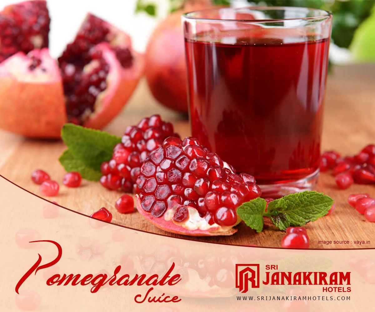 Enjoy The Refreshing Chill Pomegranate Juice Sri Janakiram Hotels Srijanakiram Juices Pomegranate Healthy Fruits Pomegranate Juice Pomegranate
