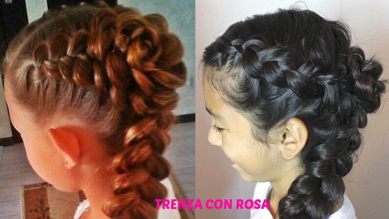 trenza con rosatrenza cabello largo peinados