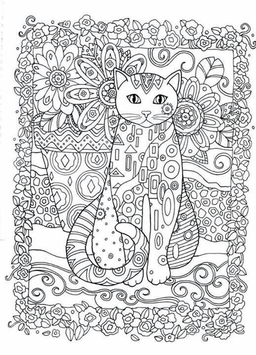 Cat and Owls Abstract Doodle Zentangle ZenDoodle Paisley Coloring ...