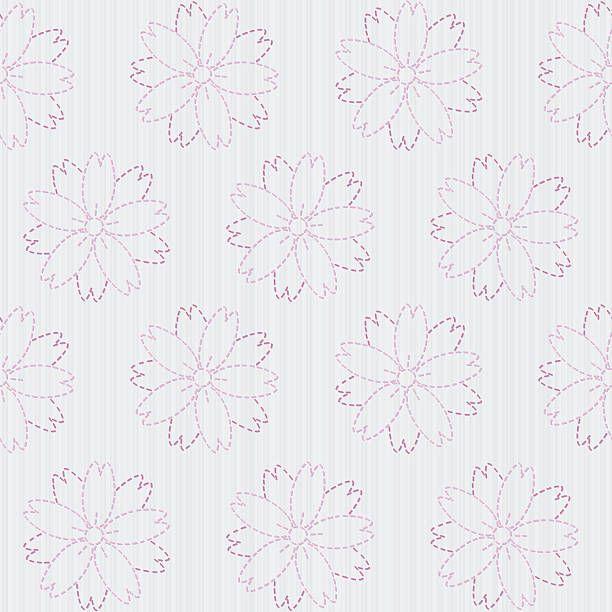 Seamless vector pattern. Sashiko motif – blooming cherry flowers….