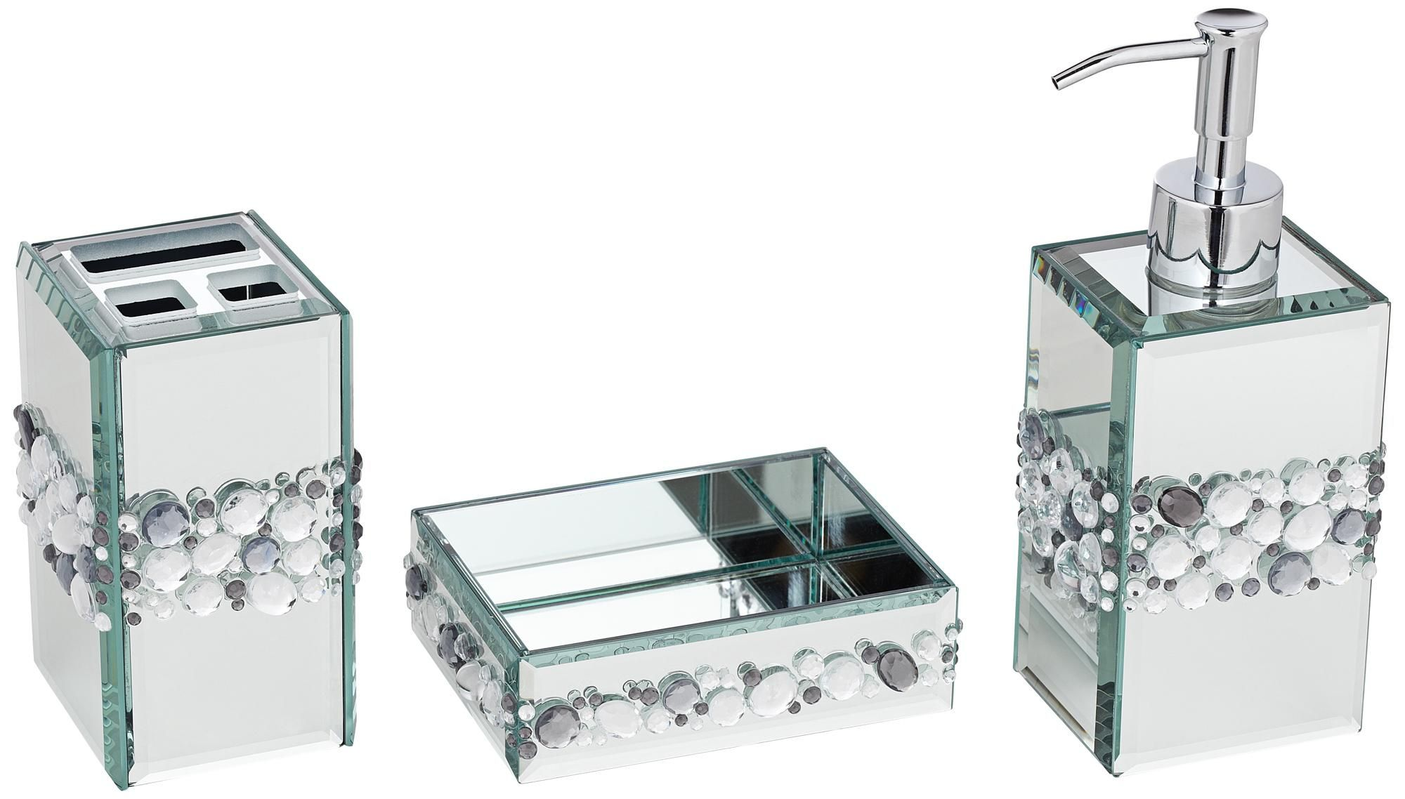 Exceptional Jeweled Mirror 3 Piece Bathroom Accessory Set