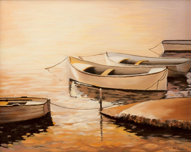 Boats Art Print, Original Art Print, Boats, Wall Decor, Modern art ...