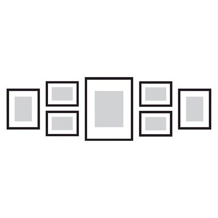 Gallery Perfect 7 Piece Multi-Size Wall Frame Set - Black | Wall ...