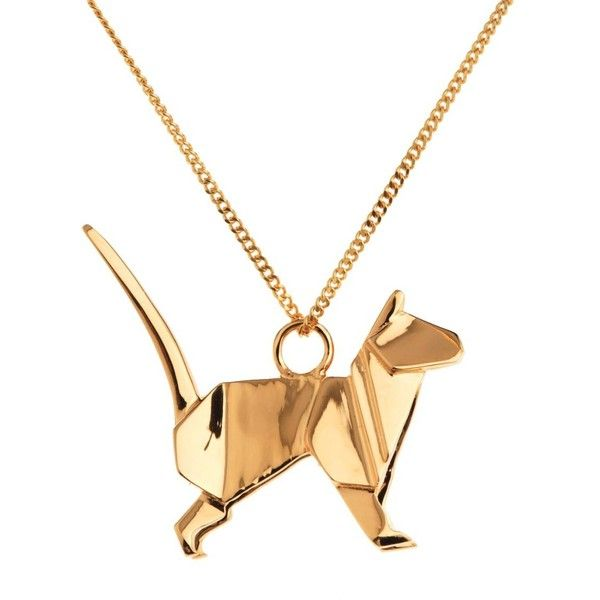 Origami Jewellery Cat Necklace Gold 165 Liked On Polyvore Featuring Jewelry Necklaces Gold Cat Jewelry With Images Origami Jewelry Cat Necklace Gold Cat Necklace