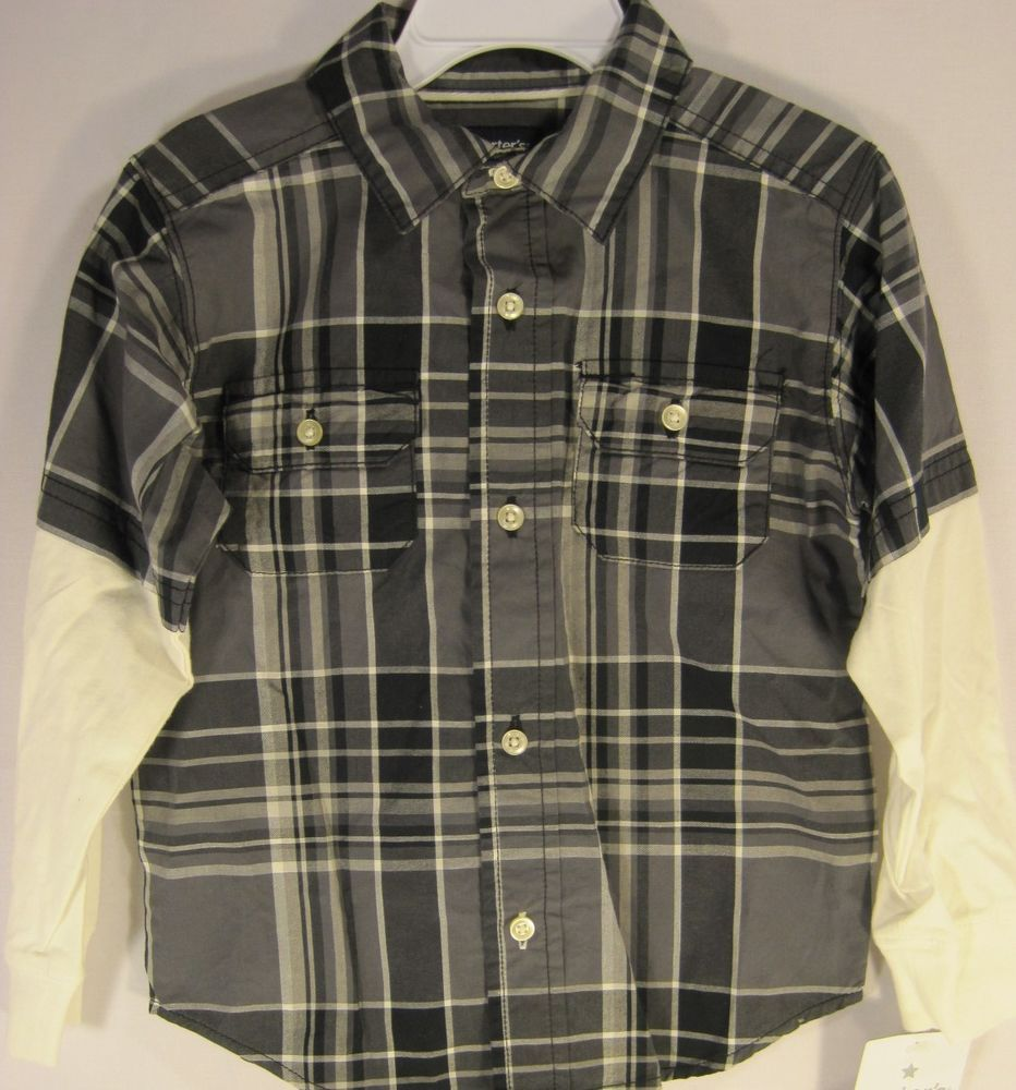 9cf048616 Carters Toddlers Play Wear Size 3T Plaid Shirt Black Gray White 100% Cotton  #Carters #Everyday