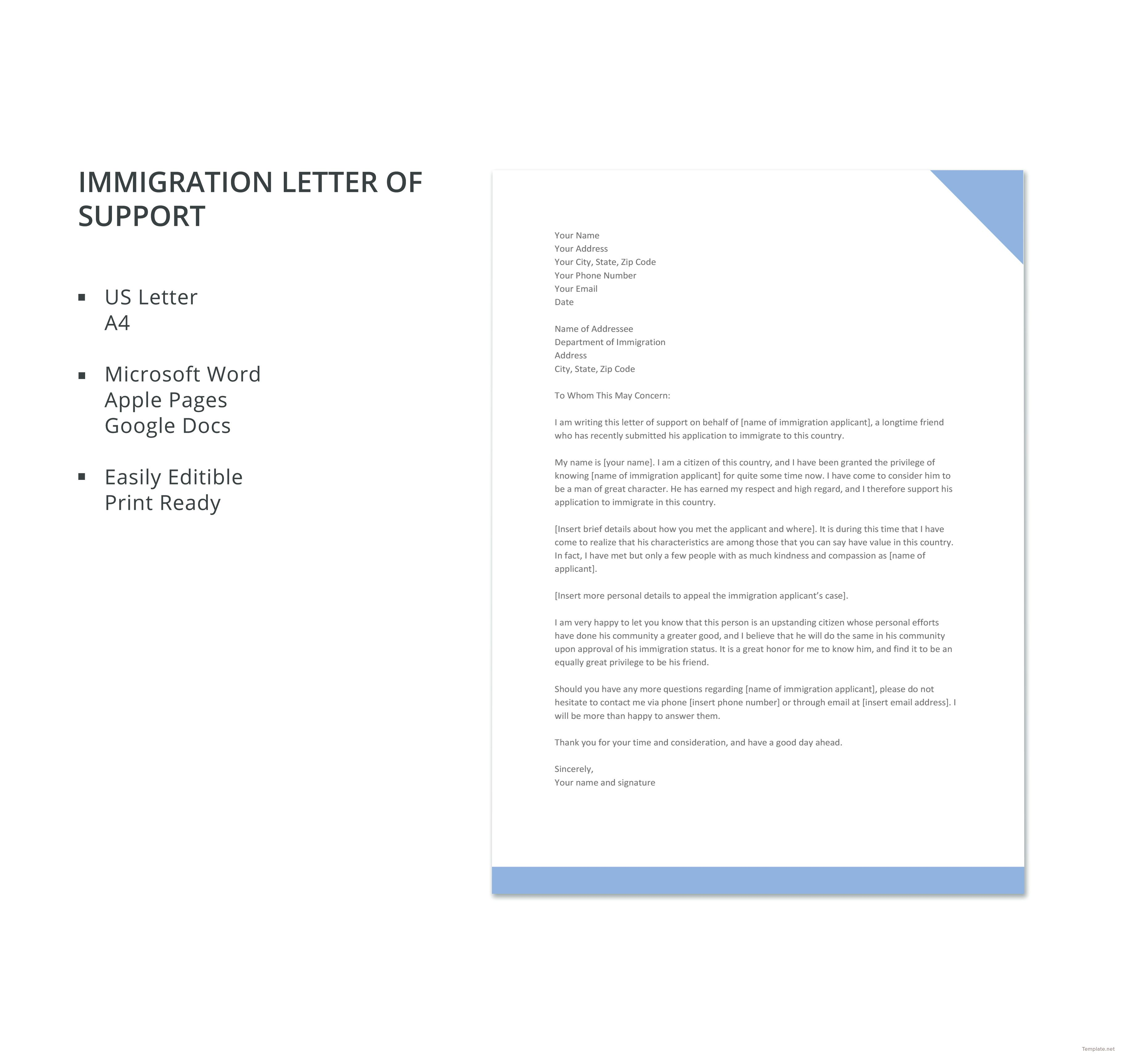 45+ Letter of support example immigration trends