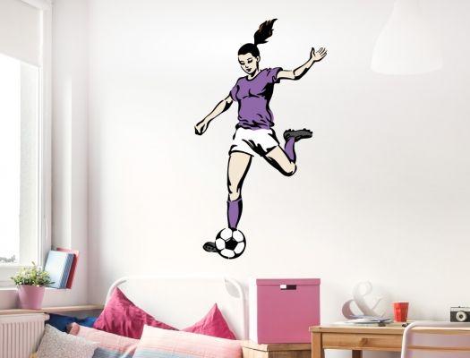 Kinderzimmer Wandtattoo Fußballerin Als Mädchenmotiv