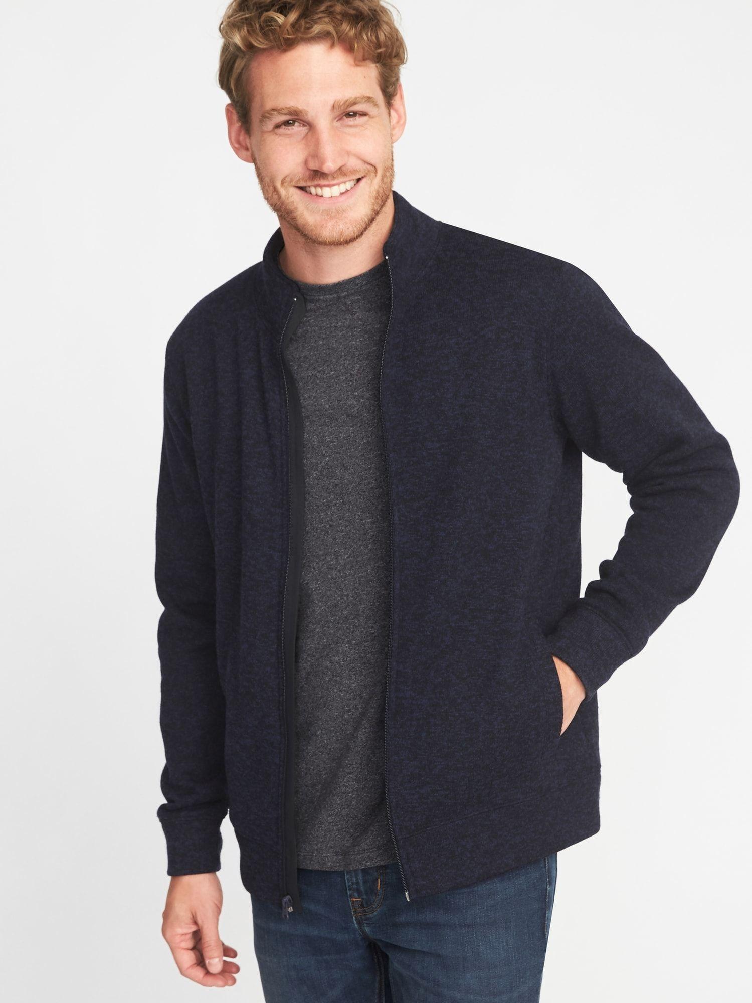 4763e1384dc8 Mock-Neck Sweater-Knit Fleece Jacket for Men