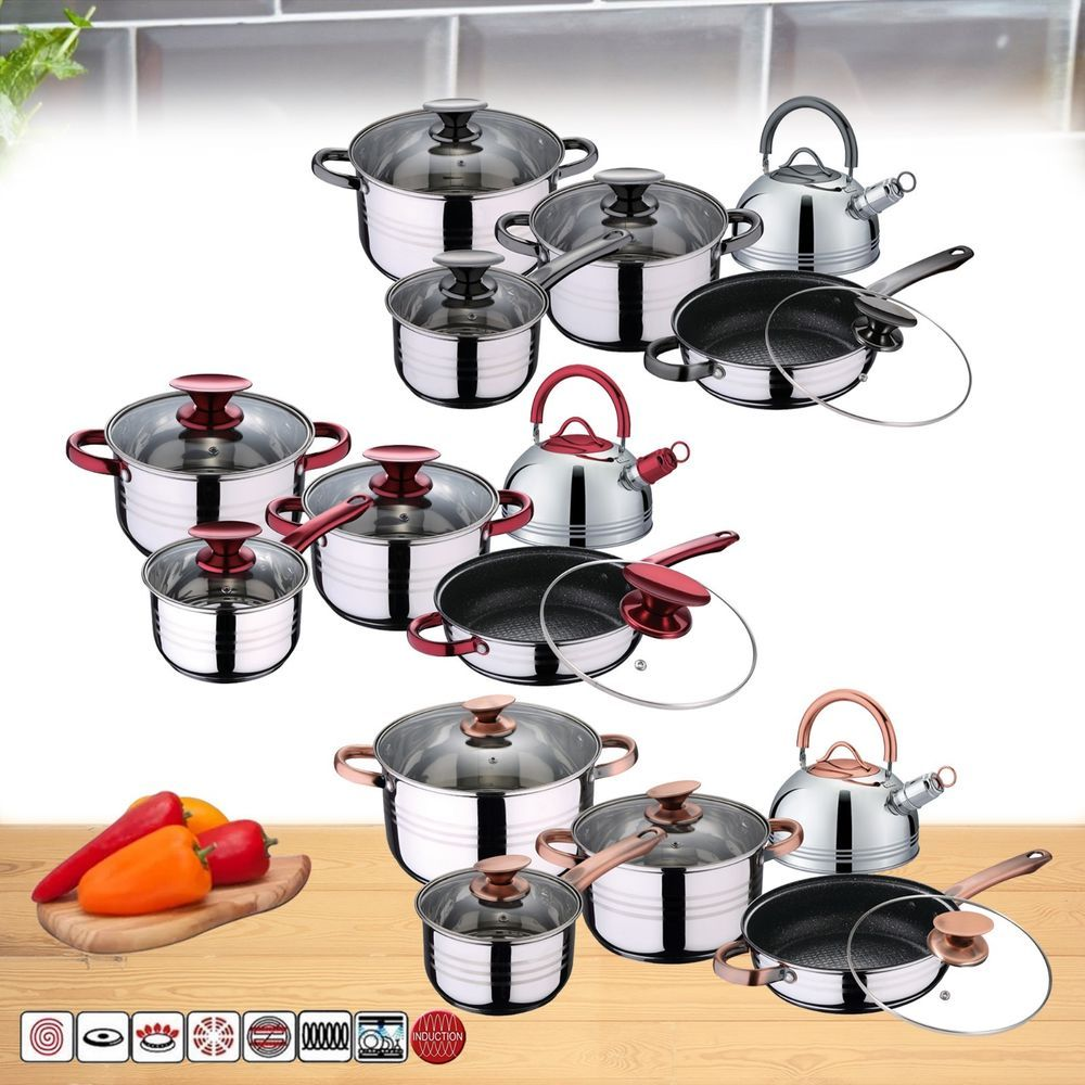 Details About 10 Pcs Stainless Steel Induction Hob Dining Cookware