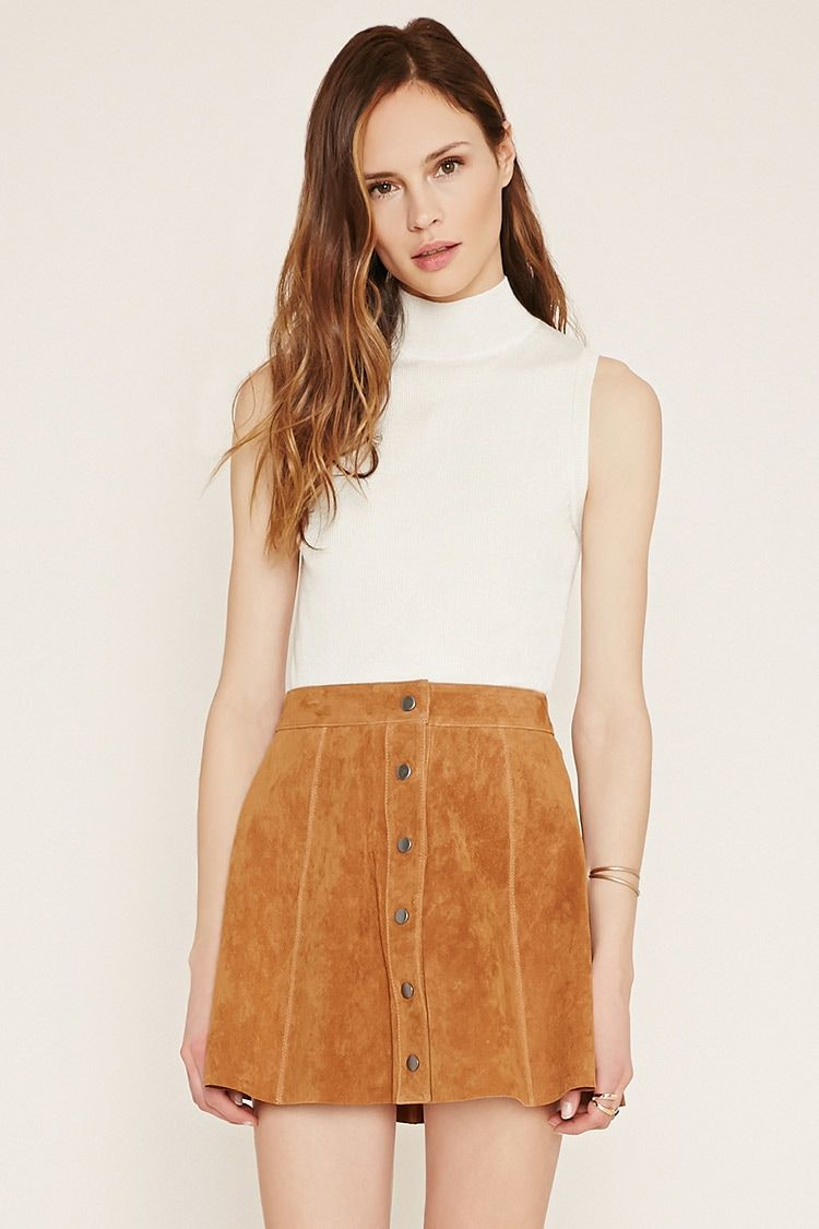 0936a74af Forever 21 Contemporary - A genuine suede skater skirt with a snap-buttoned  front.
