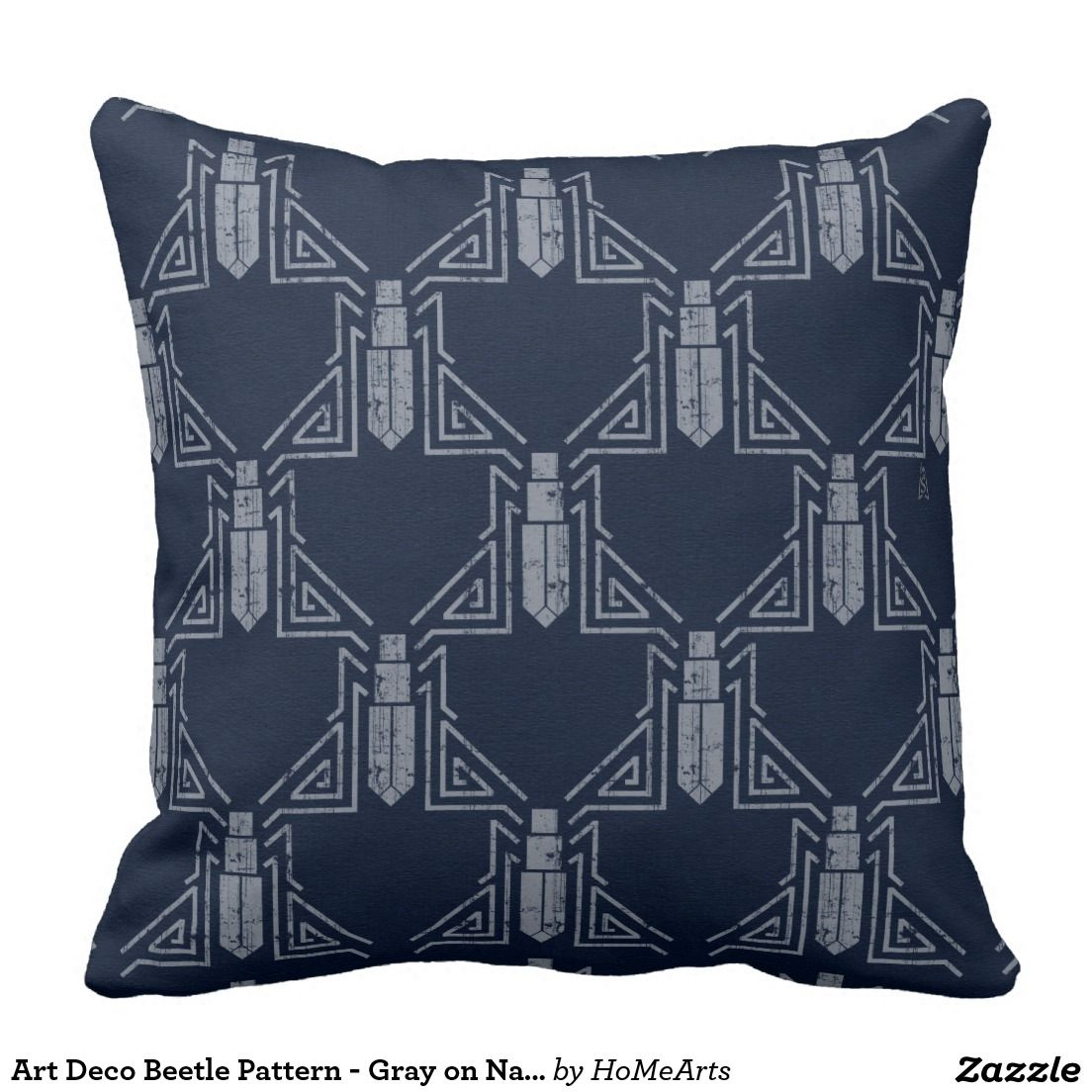 """Art Deco Beetle Pattern - Gray on Navy Blue Throw Pillow - Among the factors that joined together and grew into what we call """"Art Deco"""" was the Egyptian Revival following the discovery of King Tutankhamun's tomb.   In Tut's time, #beetles were a common theme on everything from textiles to jewelry. This pillow features an original variation of such designs, w/a distressed pale blue-gray on a navy blue background. #artdeco_pillows #navy_blue_pillows"""