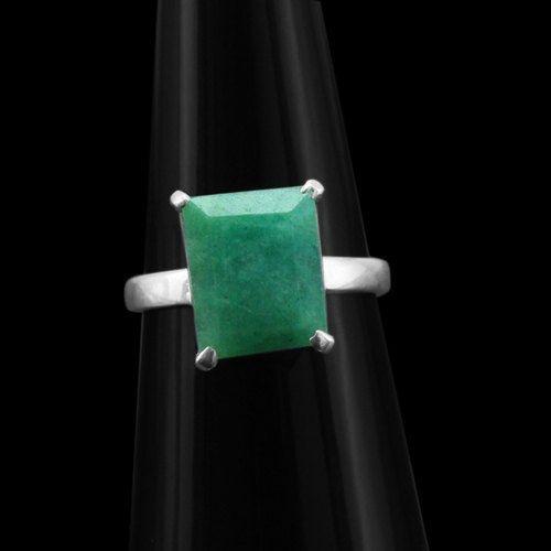 Genuine Green Emerald .925 Silver Ring