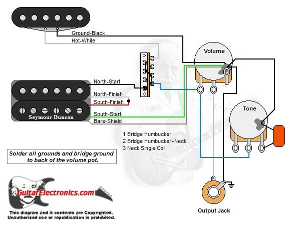 1 Humbucker/1 Single Coil/3-Way Lever Switch/1 Volume/1 Tone/00 | Three way  switch, Coil, Single | Guitar Wiring Diagrams 1 Pickup No Volume |  | Pinterest