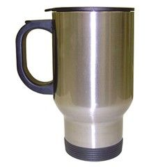 Our stainless-steel 15 oz. travel mug with lid is made of stainless-steel, with a plastic lid, handle and bottom coaster. There is no plastic liner.