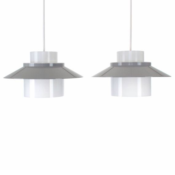 Dinette Pair Of Ceiling Lamps By Bent Karlby 1970 Lyfa Danish Mid Century Modern Lighting Two Cute Gray White Acrylic Plastic Lights With Images Mid Century Modern Lighting Modern Lighting Plastic