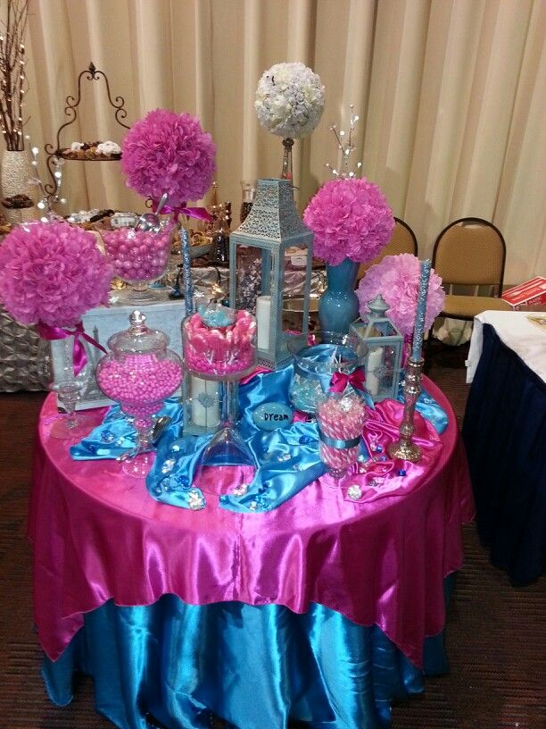 Lush Hot Pink Turquoise Candy Table Pink Wedding Centerpieces Wedding Centerpieces Pink Wedding