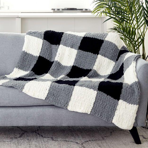 Bernat Alize Ez Checked Blanket Blanket Yarn Knitted