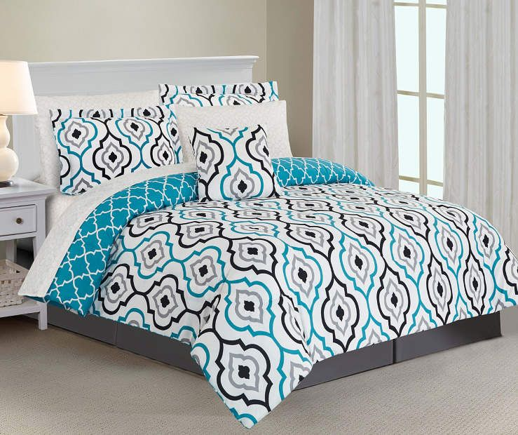 Just Home Emily Lake Geometric Queen 8 Piece Reversible Comforter