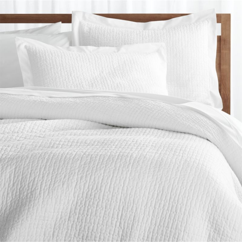 Shop Celeste King White Duvet Cover Stitched And Quilted By Hand