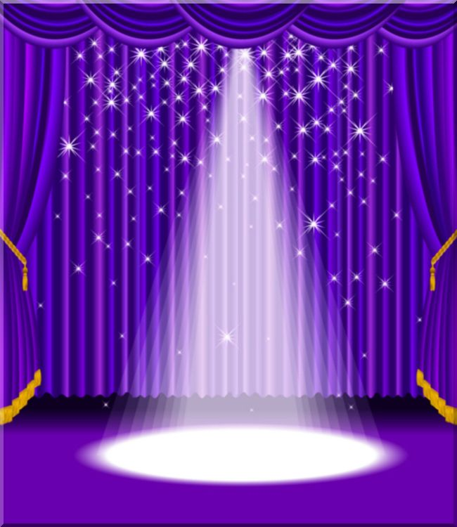 Blue Stage Curtains Spotlight