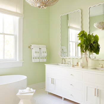 White And Celery Green Bathroom With Large White Hex Tiles Green Bathroom Light Green Bathrooms Light Green Walls