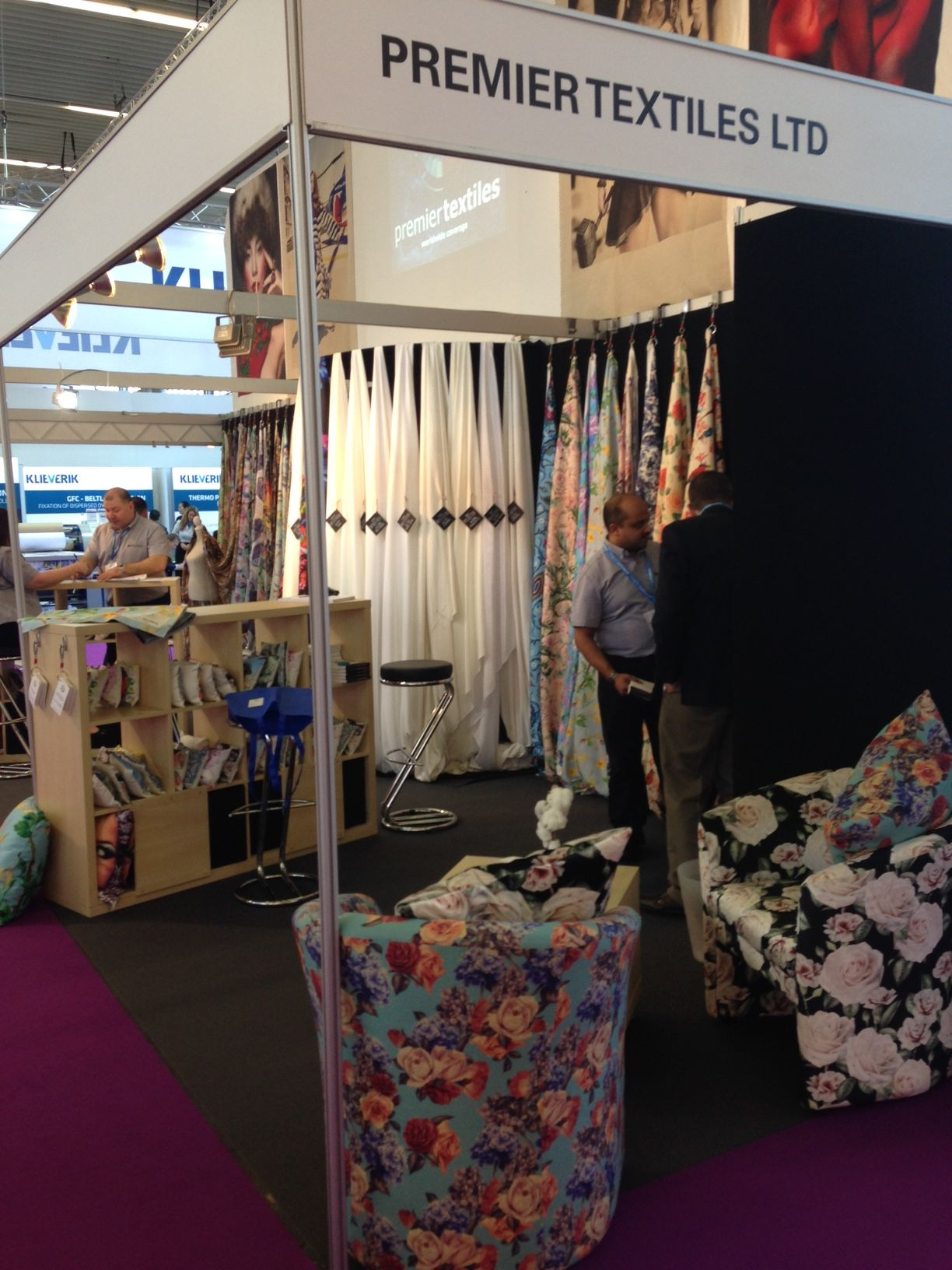 Some of the lovely textiles available at the Premier Textiles stand at FESPA Digital 2016. #fespadigital #fespa2016