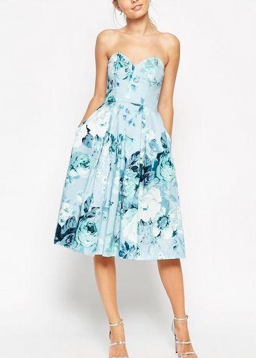 Sukienka Midi Do Lydek Rozkloszowana Niebieska W Kwiaty Fashyou Pl Printed Prom Dresses Asos Evening Dresses Wedding Guest Dress
