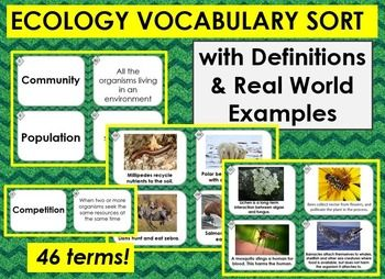Worksheets Ecology Vocabulary Worksheet ecology vocabulary matching sort w 46 terms definitions real world examples