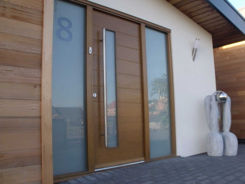 Pretty Exterior Home Part Showing Modern Front Doors With Glass Frosted Door  As Finishing
