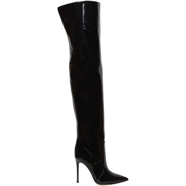 Gianvito Rossi Women 105mm Patent Leather Over The Knee Boots ($1,890) ❤  liked on Polyvore featuring shoes, boots, black, over the knee boots, ...