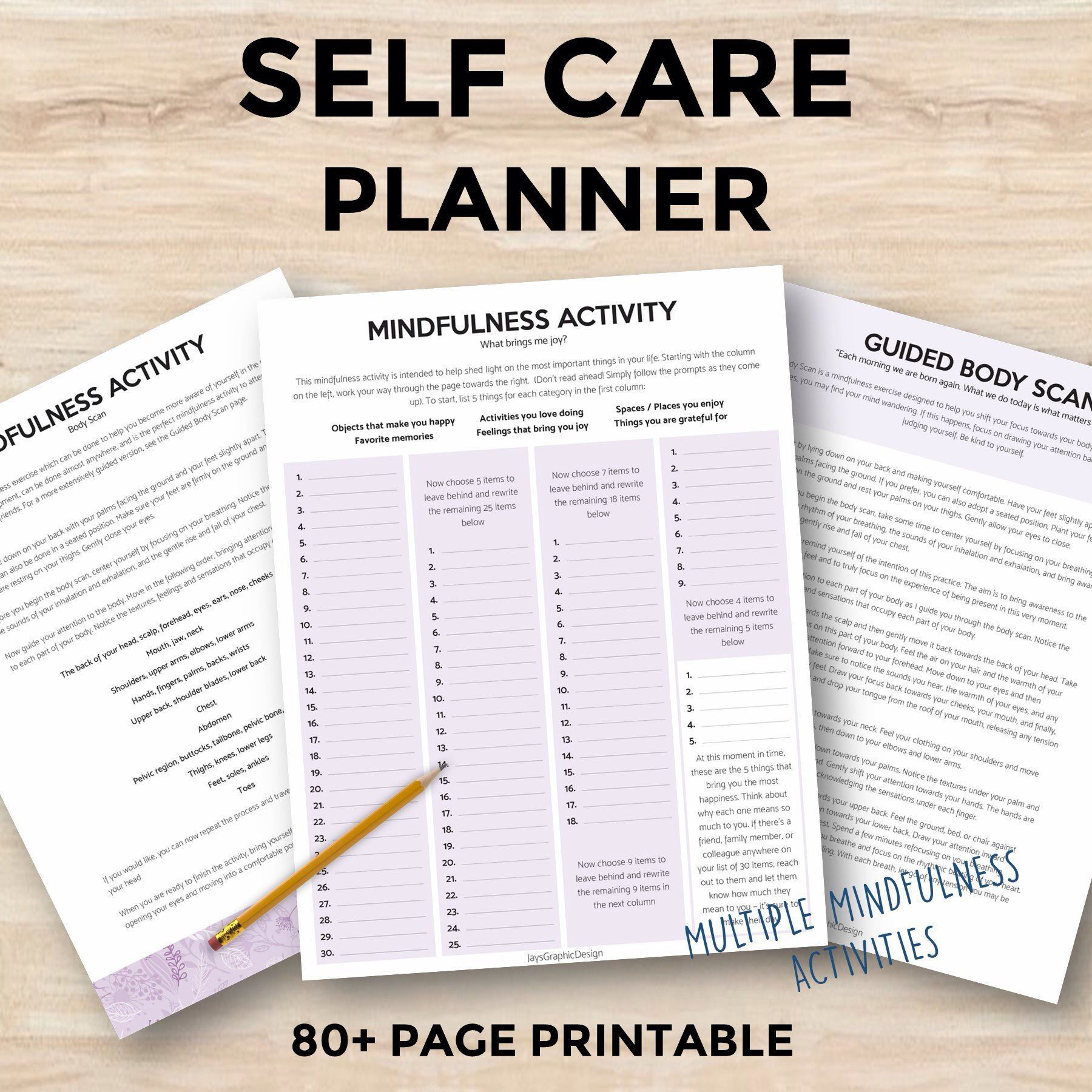 Self Care Planner 80 Pages Printable Planner Ultimate Wellness