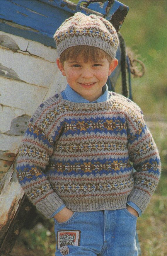 d7a01e37104 Childrens Fair Isle Sweater and Beret Knitting Pattern PDF Boys or ...